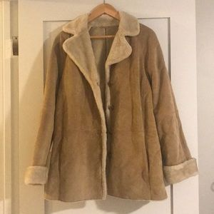 Vintage Suede and Faux Shearling Coat